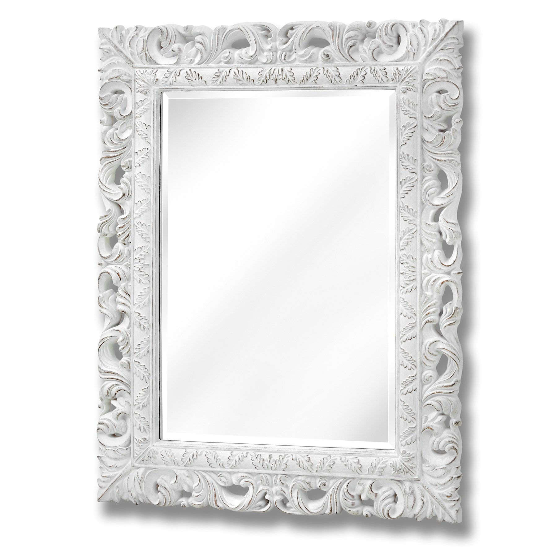 Antique White Ornate Leaf Wall Mirror From Baytree Interiors Pertaining To Ornate White Mirror (Image 1 of 15)
