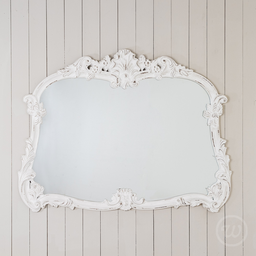 Antique White Ornate Overmantle Mirror For White Ornate Mirrors (Image 1 of 15)