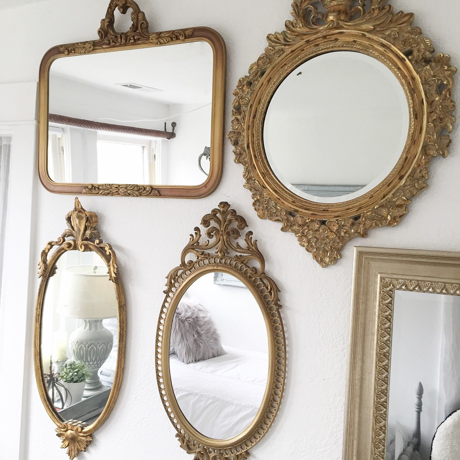 Antique Wood Mirror Ornate Gold Decorative Mirror Vintage Gilt For Antique Gold Mirrors (Image 4 of 15)