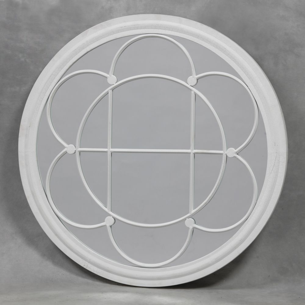 Antiqued Crackle White Round Clover Metal Mirror Regarding White Round Mirror (Image 2 of 15)
