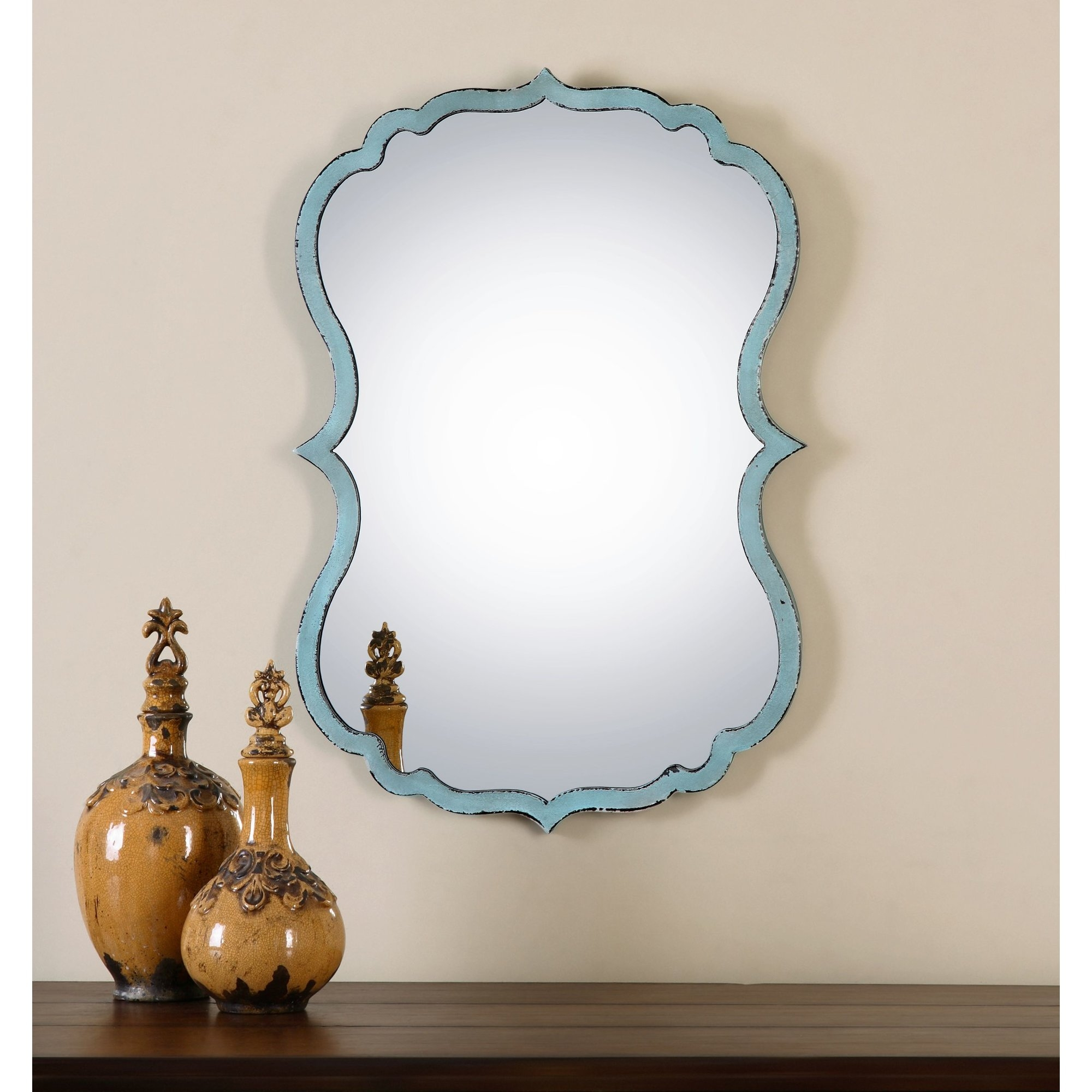 Antiqued Light Blue Wall Mirror Reviews Allmodern In Antiqued Wall Mirror (Image 3 of 15)