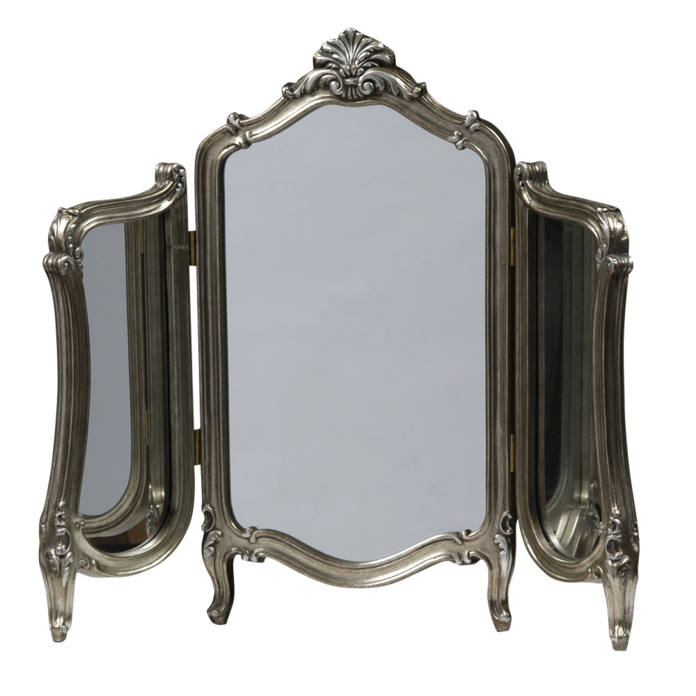 Antiqued Silver French Triple Dressing Table Mirror Ee2383 In Silver Dressing Table Mirror (Image 4 of 15)