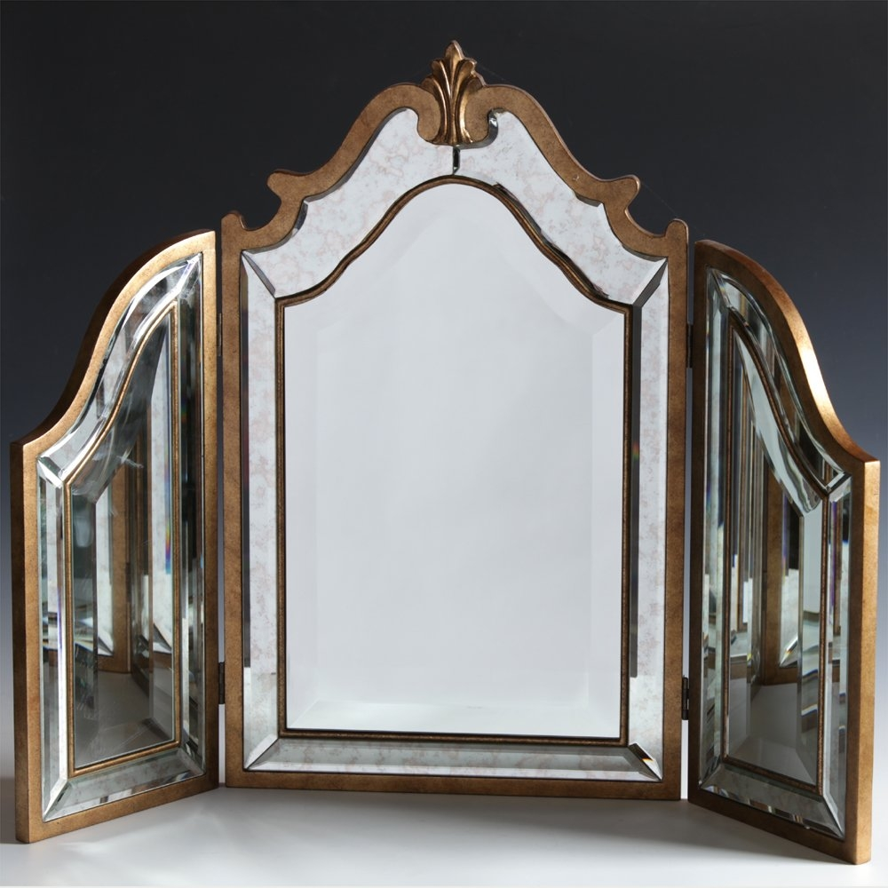 Antiqued Venetian 3 Fold Dressing Table Mirror Within Venetian Dressing Table Mirrors (Image 3 of 15)