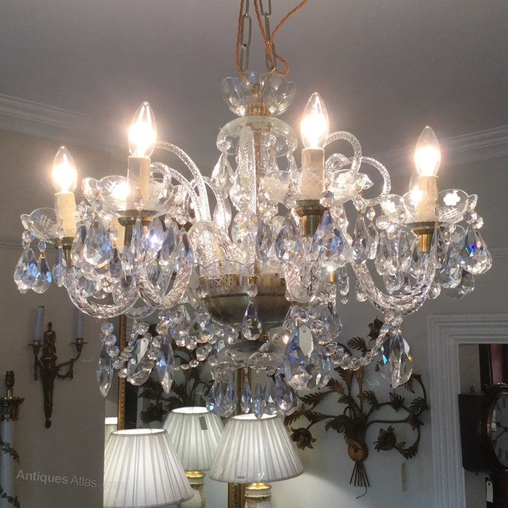 Antiques Atlas 8 Branch Cut Glass Crystal Chandelier Regarding Branch Crystal Chandelier (Image 3 of 15)