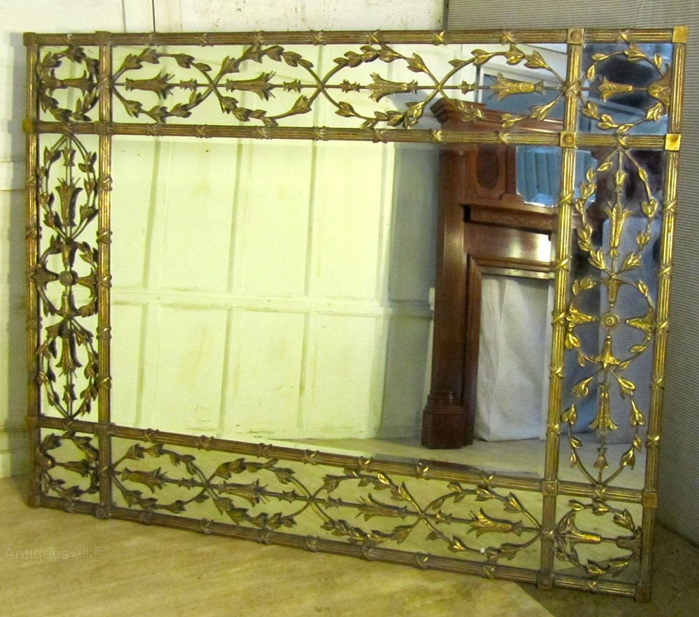 Antiques Atlas A Very Large Gilt Brass Margin Wall Mirror Within Very Large Mirrors (Image 7 of 15)