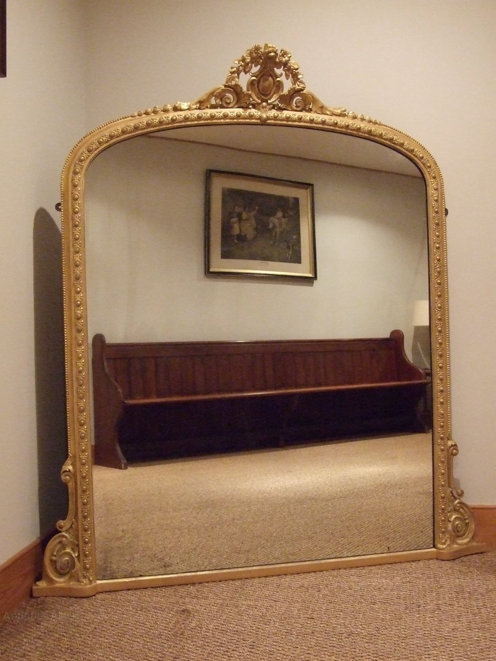 Antiques Atlas Large Antique Gilt Wood Overmantle Mirror C1880 Intended For Wooden Overmantle Mirror (View 7 of 15)