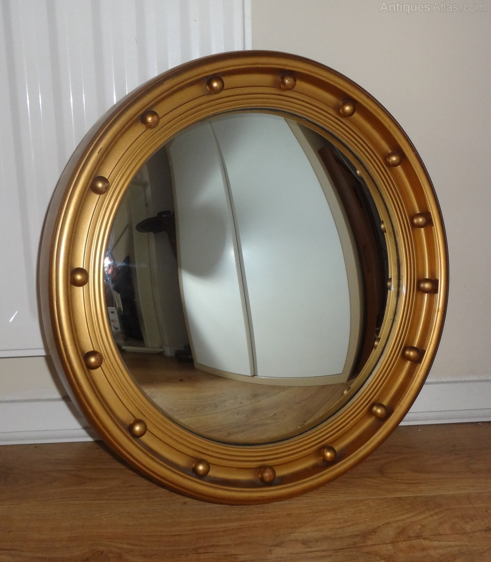 Antiques Atlas Vintage Convex Mirror Pertaining To Curved Mirrors For Sale (Image 1 of 15)