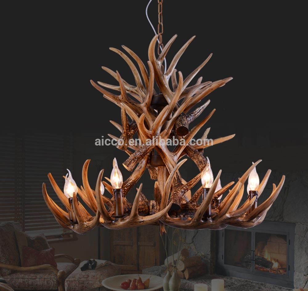 Antler Chandelier Antique Decorative Pendant Light Deer Antler Regarding Modern Antler Chandelier (Image 2 of 15)