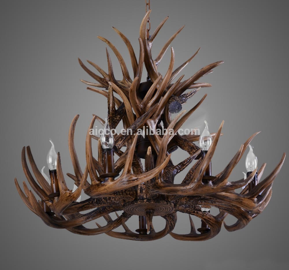 Antler Chandelier Antique Decorative Pendant Light Deer Antler Within Modern Antler Chandelier (Image 4 of 15)