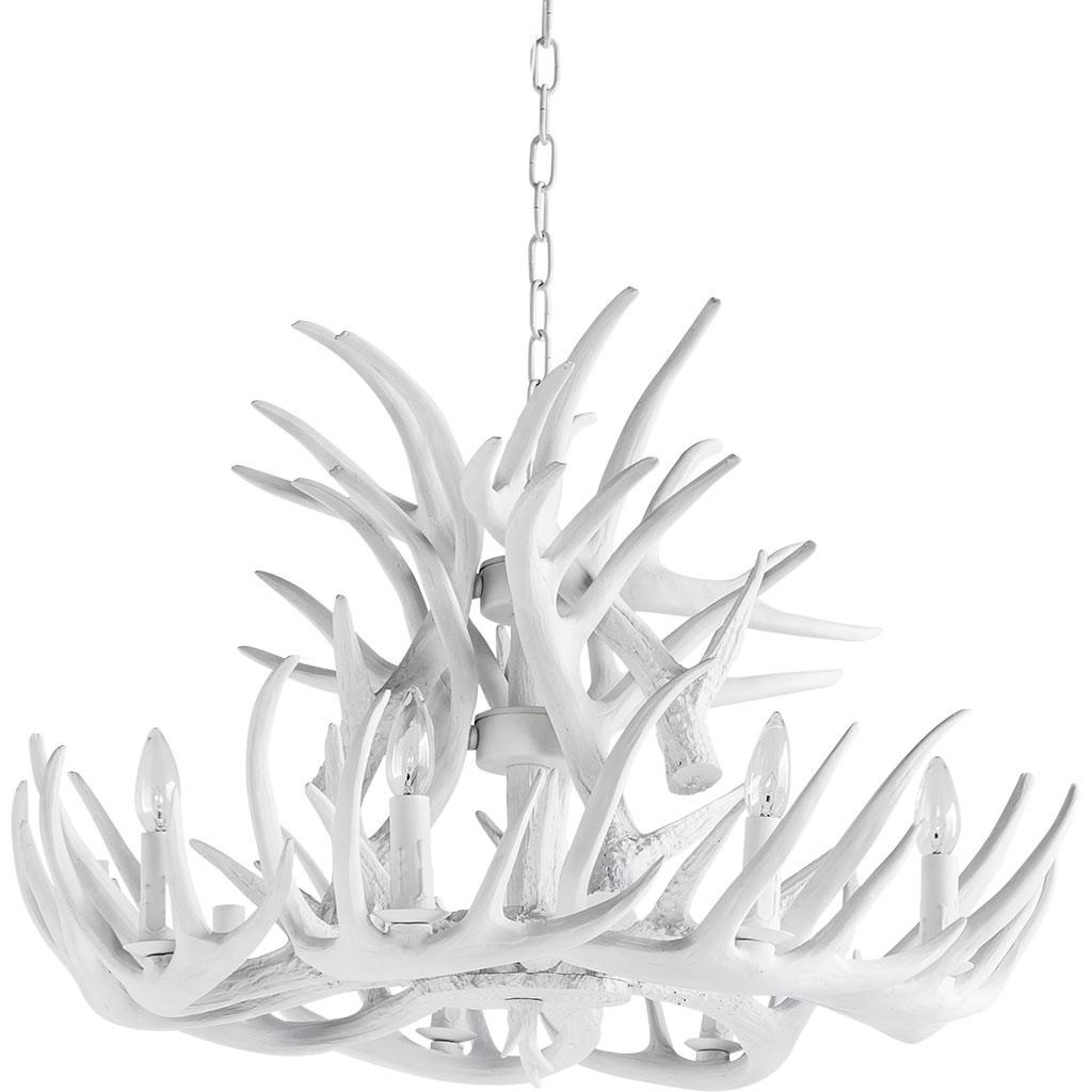 Antler Chandelier Lamp In White Modernist Lighting With White Antler Chandelier (Image 1 of 15)