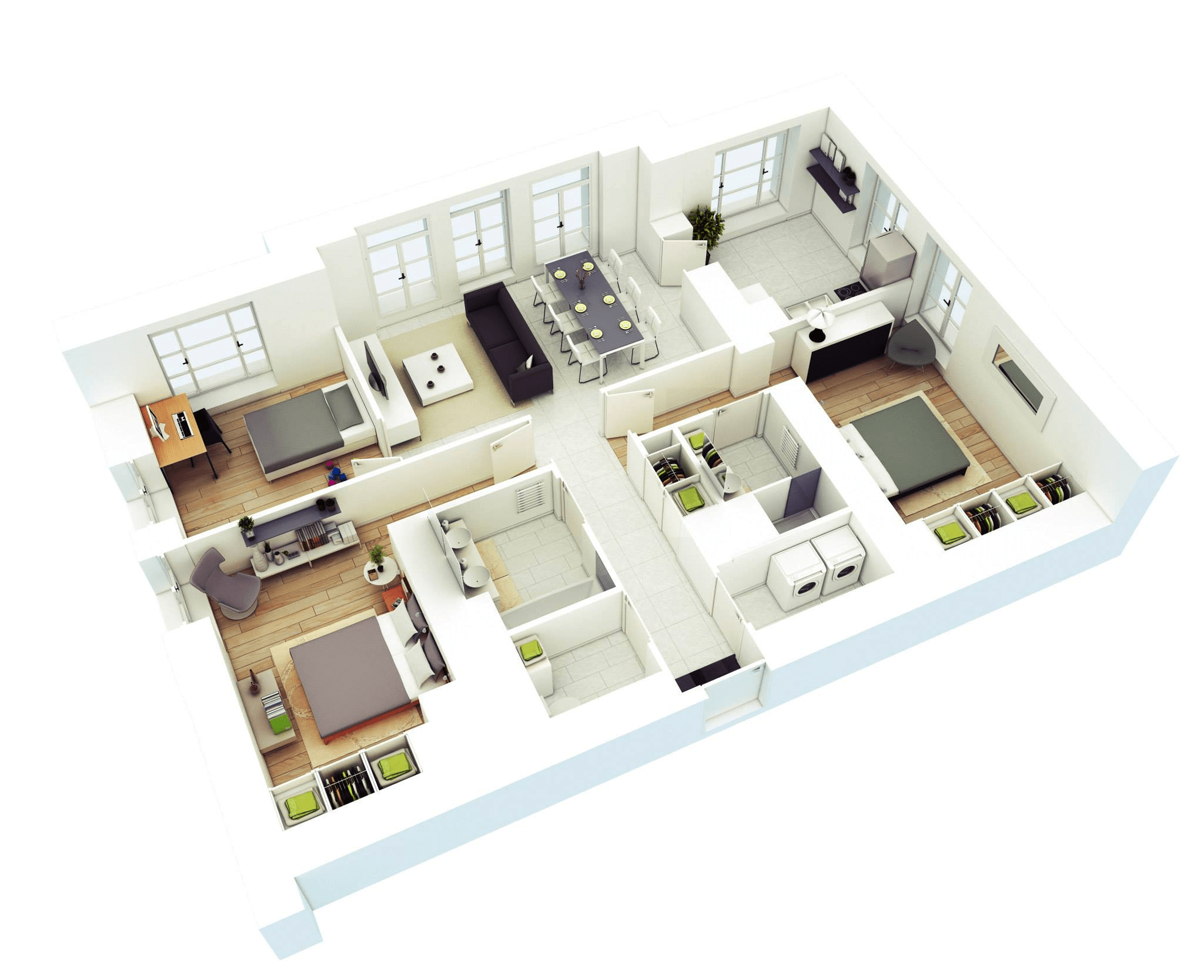 Apartment With 3 Bedroom 3D House Floor Plans With Master Bedroom (Image 7 of 11)