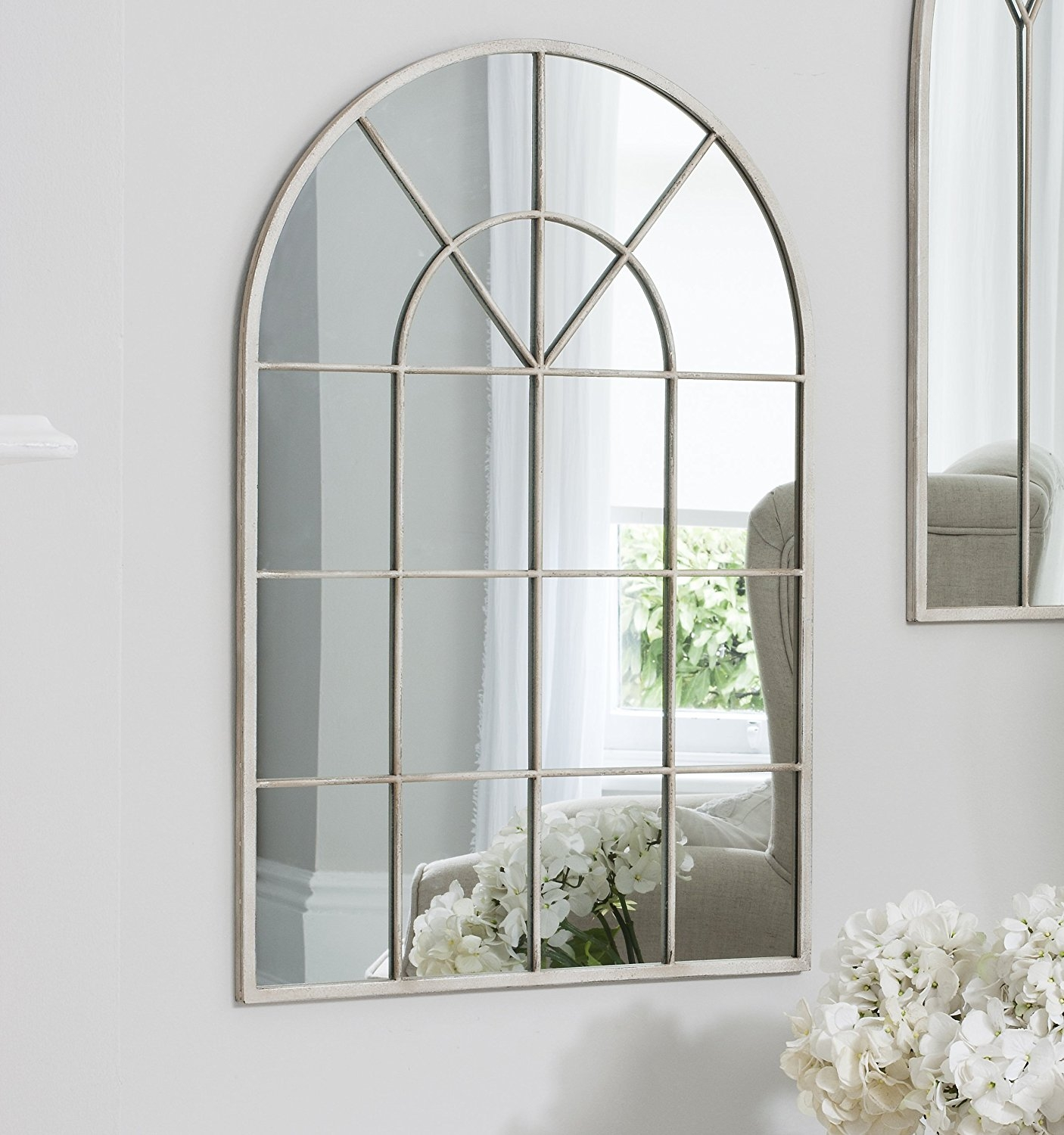 Arabella Vintage White Shab Chic Arch Window Framed Wall For White Arched Window Mirror (Image 1 of 15)