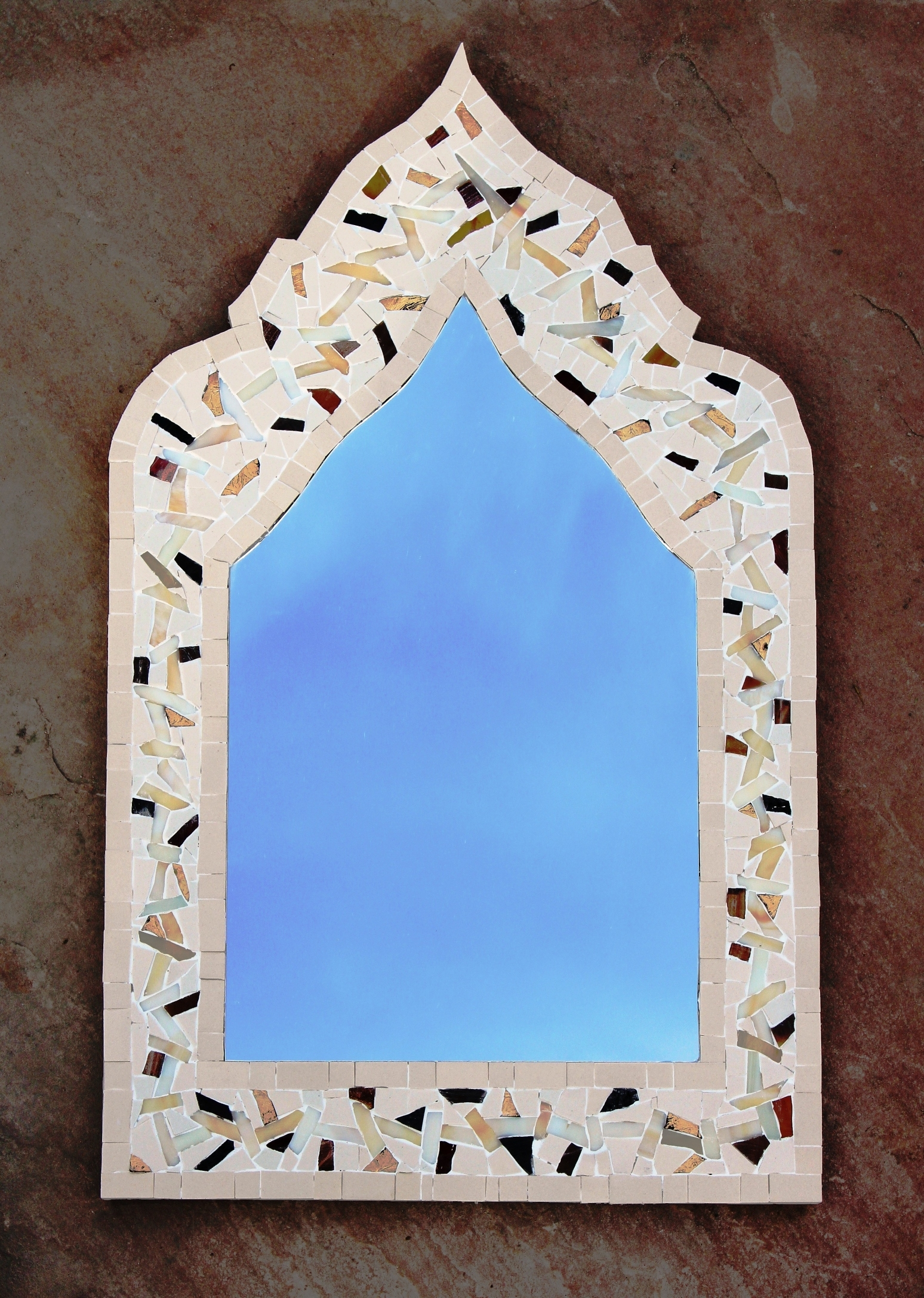 Arabic Mosaic Mirror Just Completed Sue Kershaw Mosaic Artist Throughout Mosaic Mirrors For Sale (Image 1 of 15)