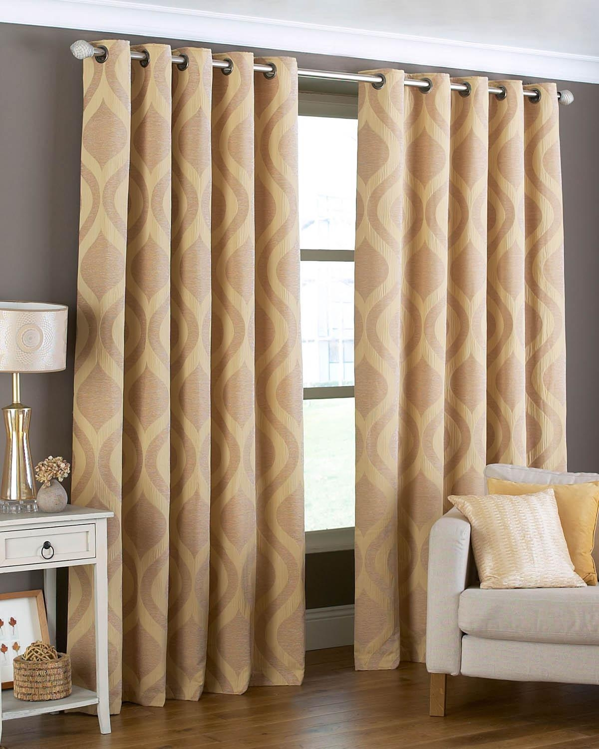Arch Ready Made Eyelet Curtains Gold Free Uk Delivery Terrys Within Cream And Gold Eyelet Curtains (Image 2 of 15)