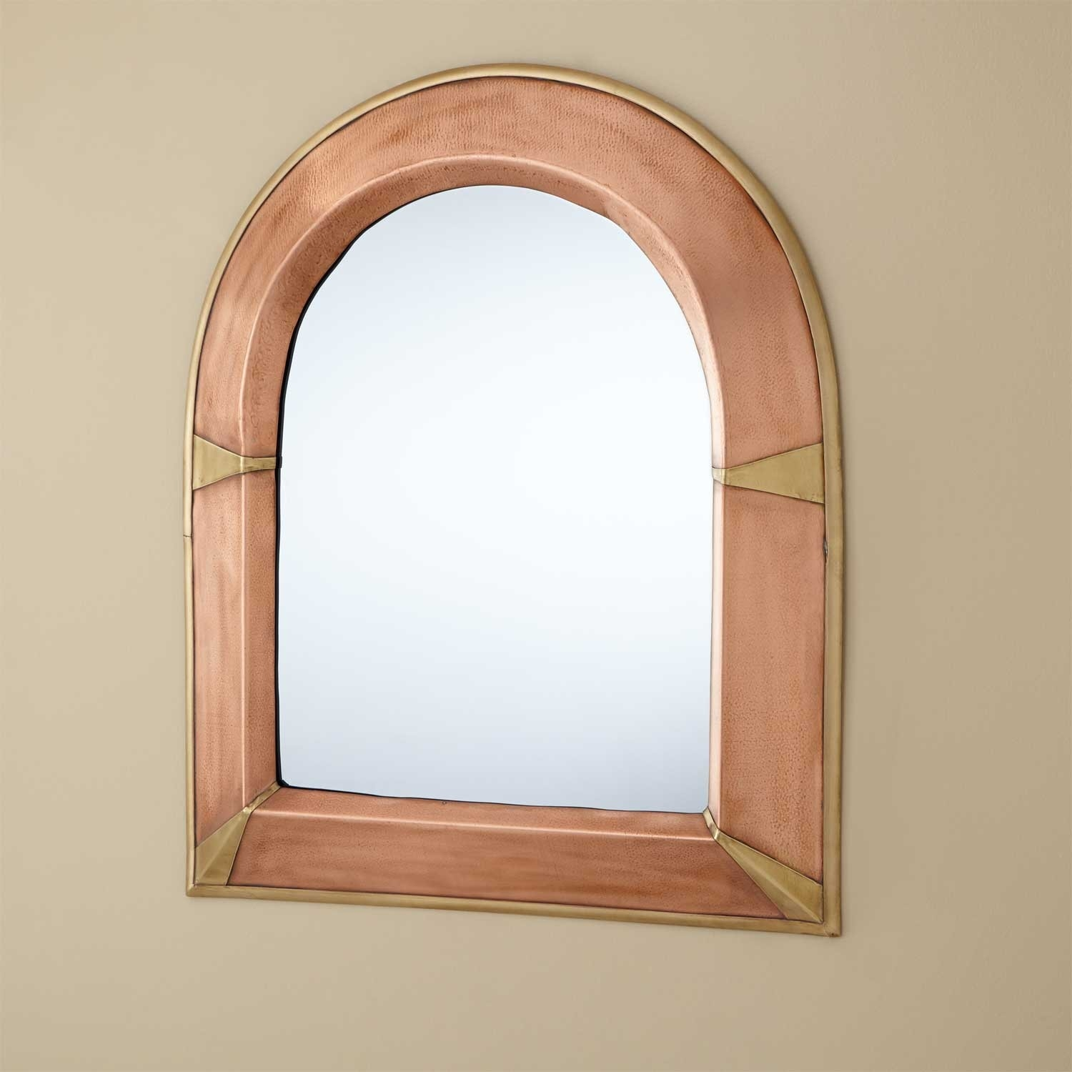Arched Lightly Hammered Copper Mirror Antique Copper Bathroom With Arched Mirrors (Image 4 of 15)