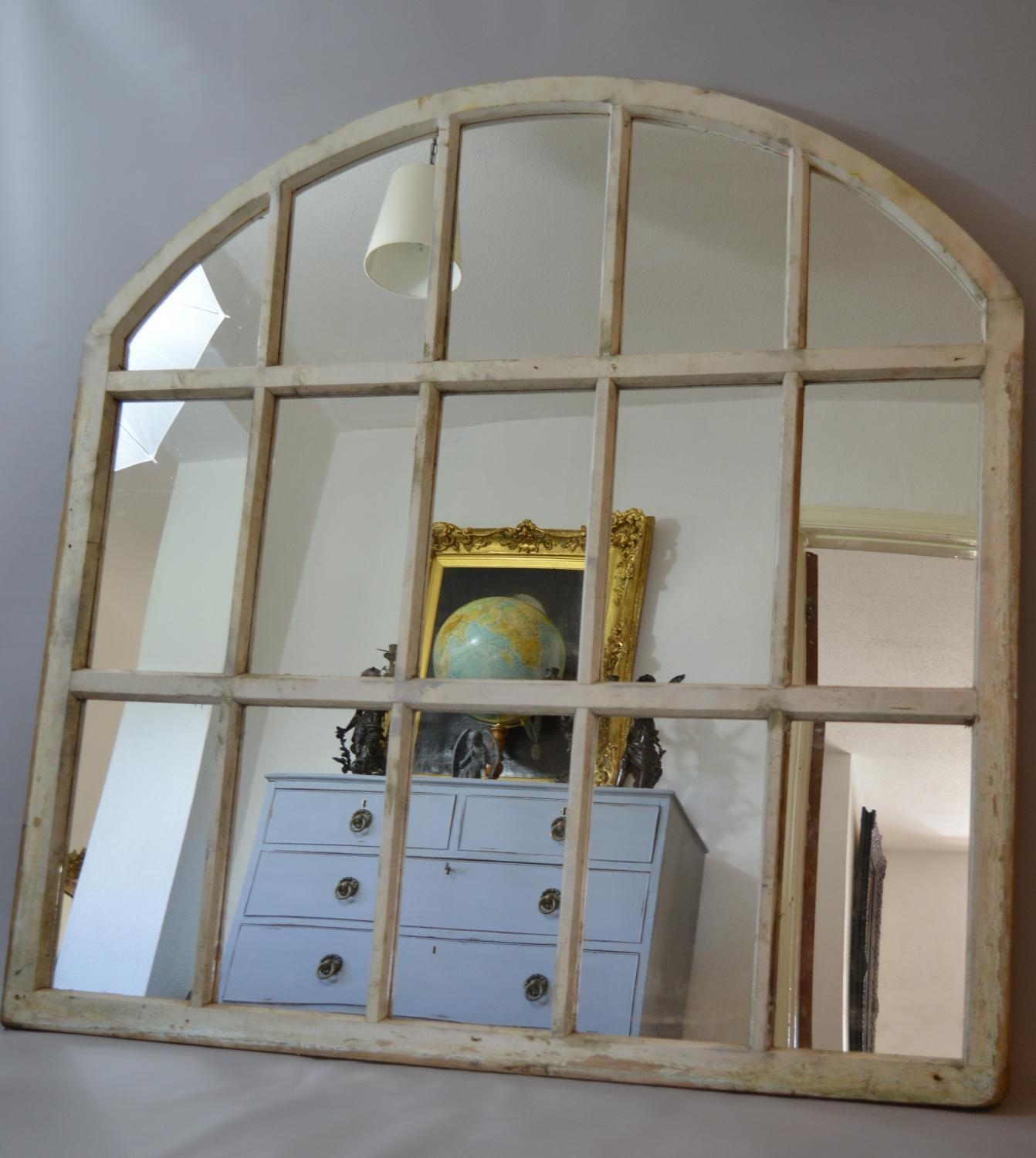 Arched Window Mirror Rockford Large Metal Arched Vintage Window Inside Large Arched Mirror (Image 2 of 15)