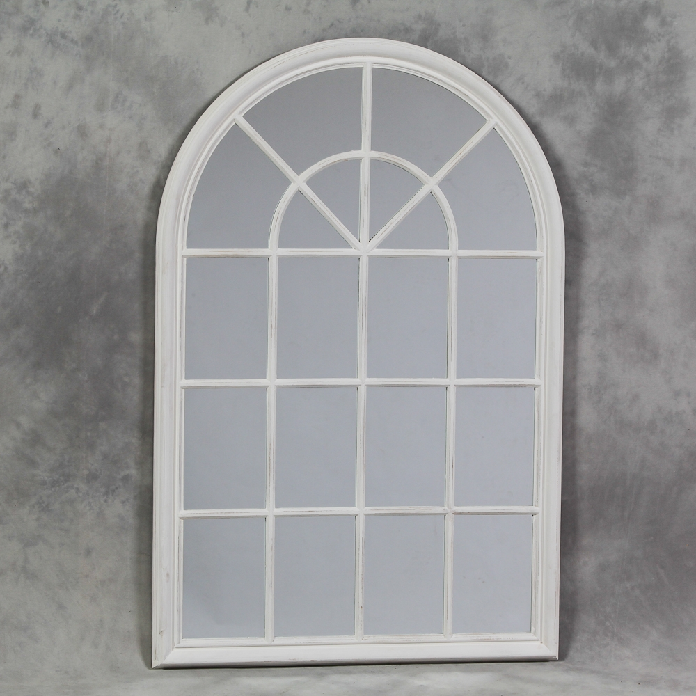 Arched Window Mirror Rockford Large Metal Arched Vintage Window Throughout Large Arched Mirror (Image 3 of 15)