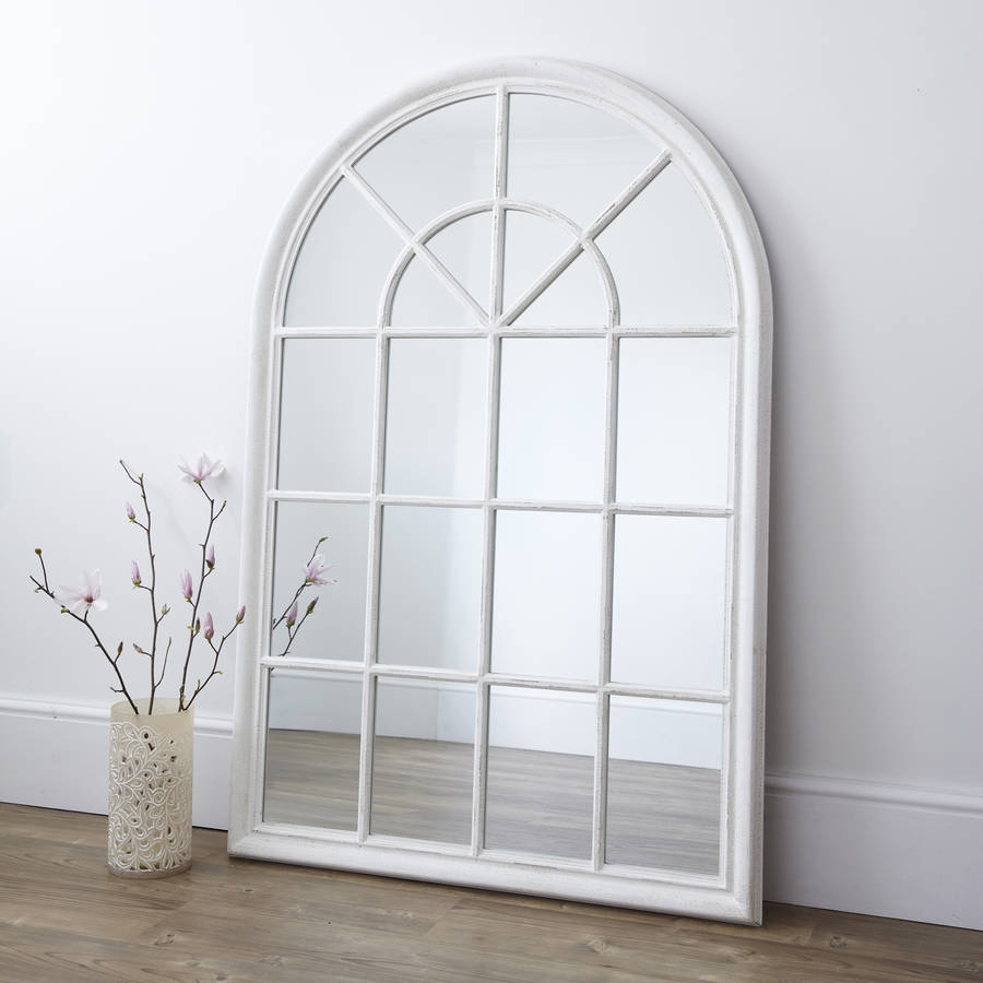 Featured Image of White Arched Window Mirror