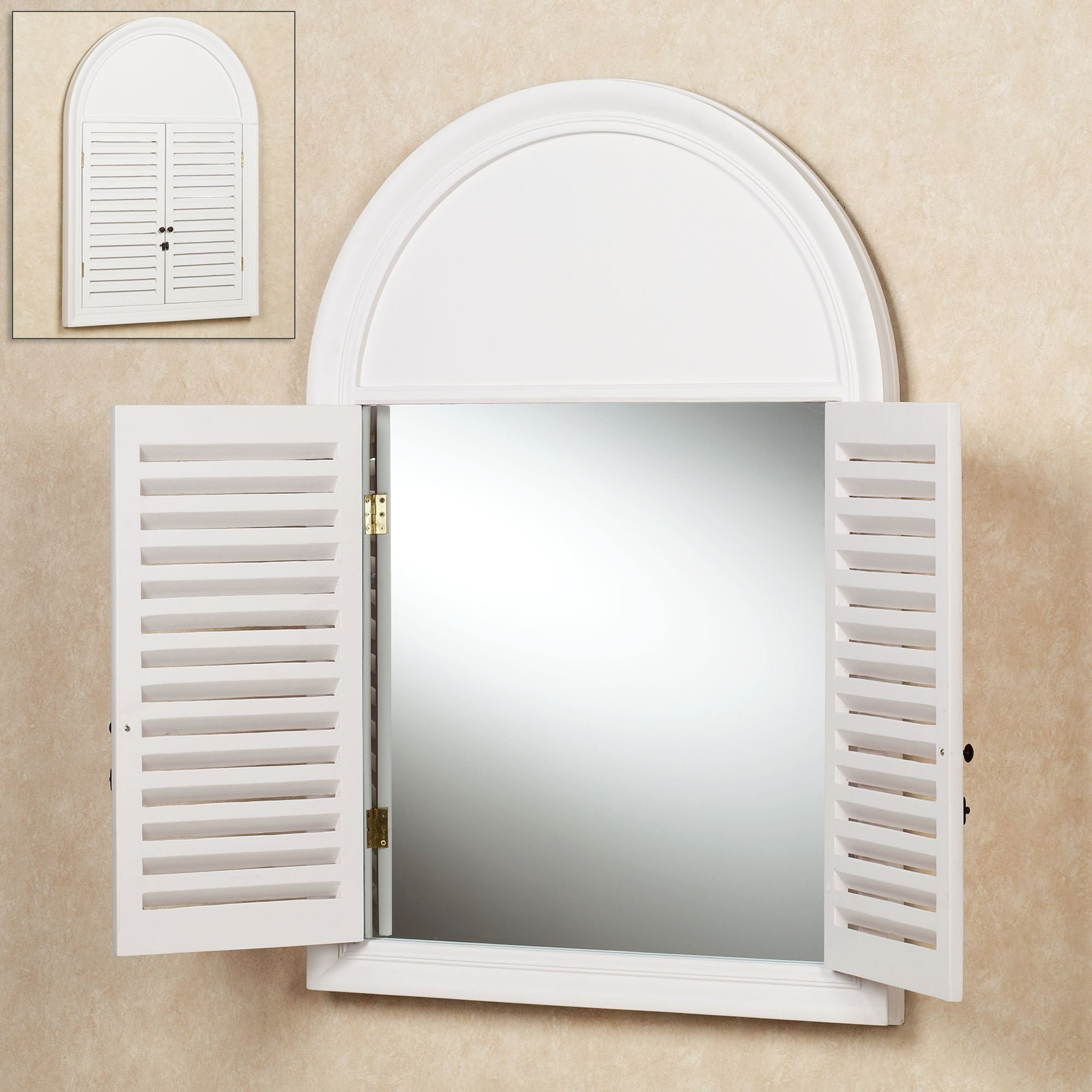 Arched Window Mirror With Shutters Mirrors From Windows Vintage Pertaining To Wall Mirror With Shutters (Image 5 of 15)