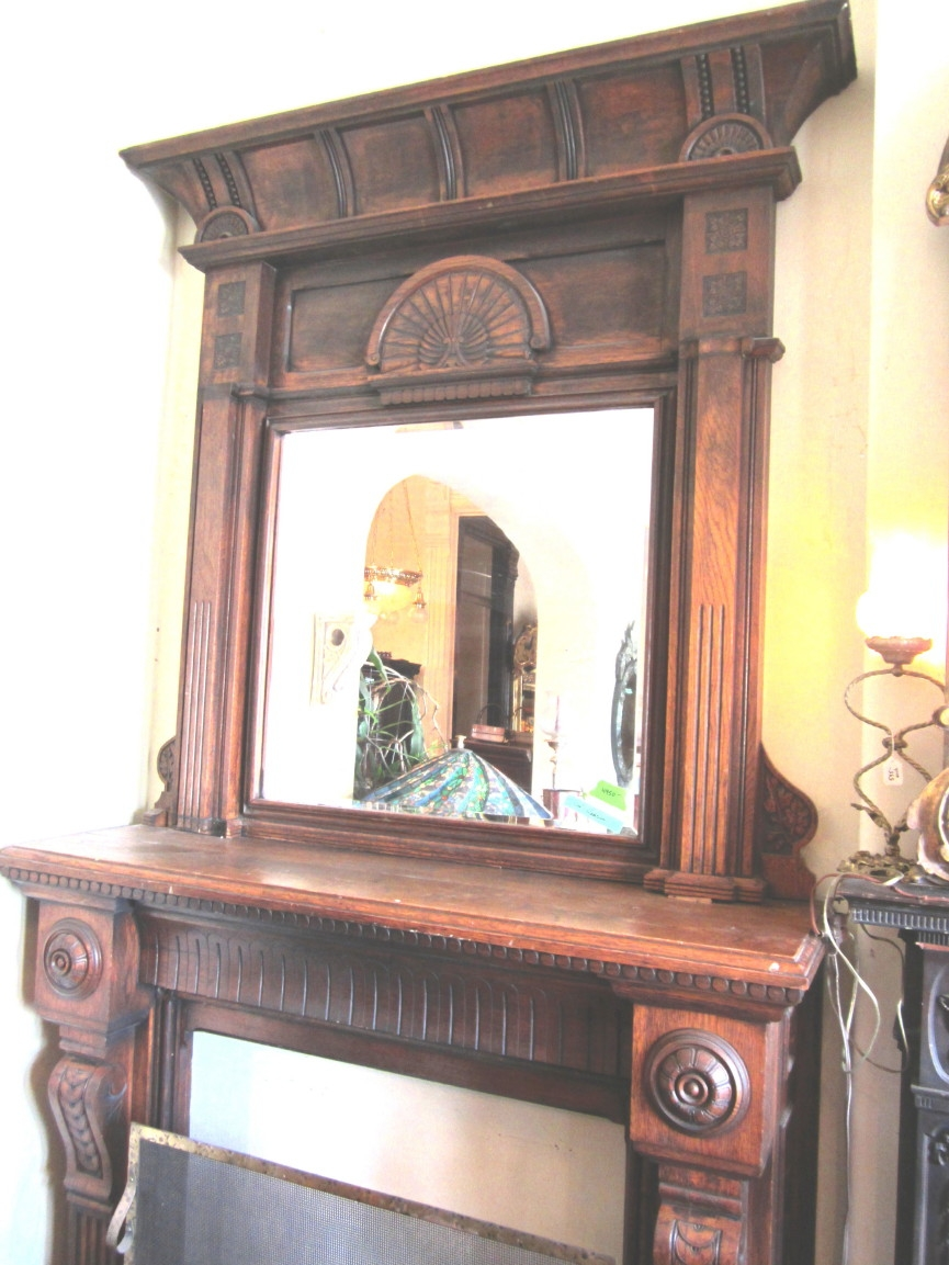 Architechural Salvage Specializes In Reproduction Mahogany For Large Mantel Mirror (Image 4 of 15)