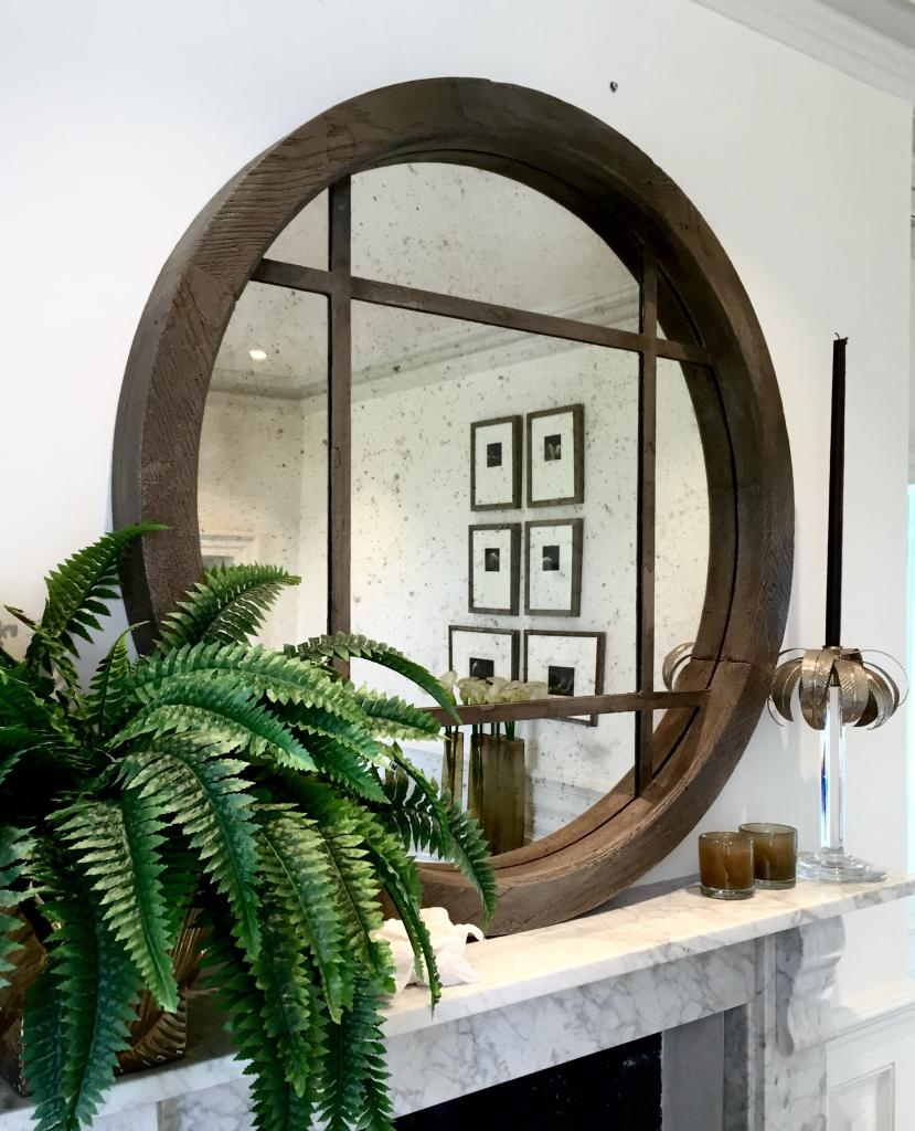 Architectural Window Frame Mirrors Within Large Circular Mirrors (Image 1 of 15)