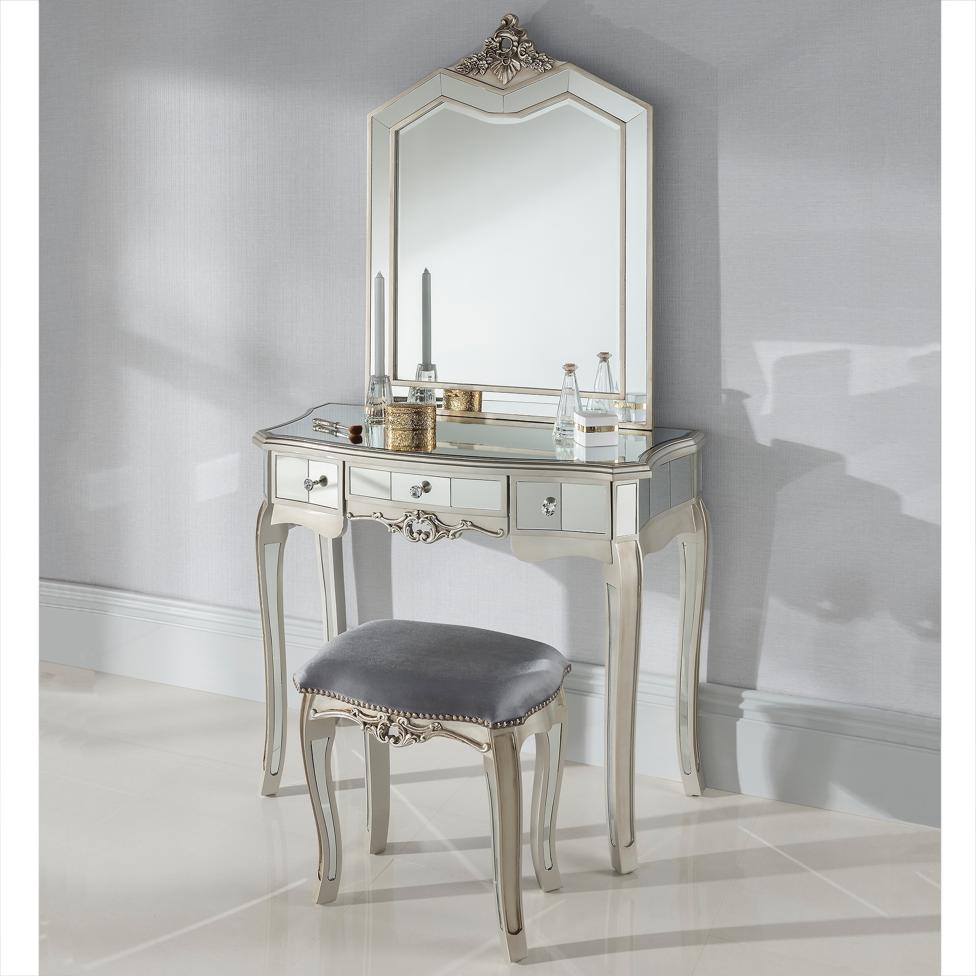 Argente Mirrored Antique French Style Dressing Table Set French Regarding French Style Dressing Table Mirror (Image 4 of 15)
