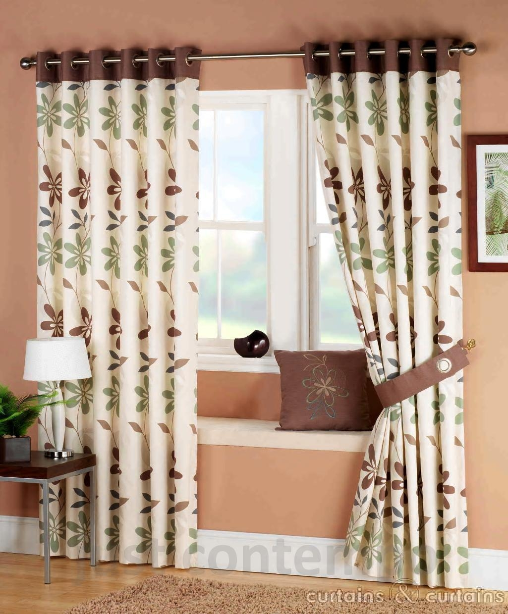Ariel Green Brown Ready Made Eyelet Curtain Curtains Uk For Cream And Gold Eyelet Curtains (Image 3 of 15)