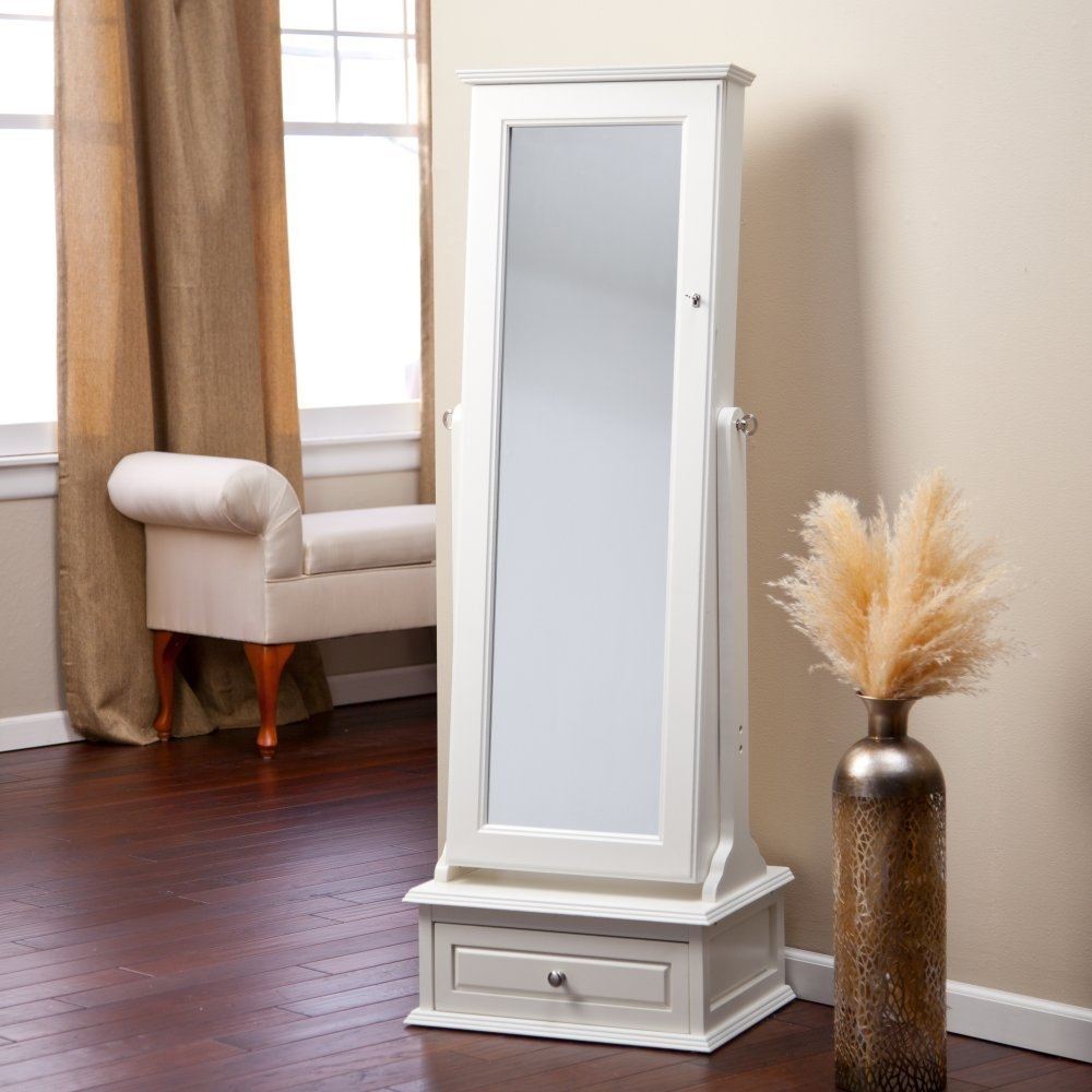 Armoires Large Size Of Jewelry Armoire Floor Mirror Jewelry With Full Length Free Standing Mirror With Drawer (Image 4 of 15)