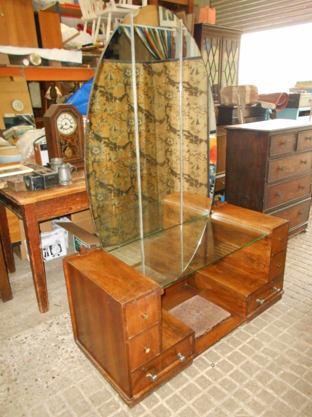 Art Deco 1930s Dressing Table With Large Oval Mirror Pertaining To Art Deco Mirrored Dressing Table (Image 4 of 15)