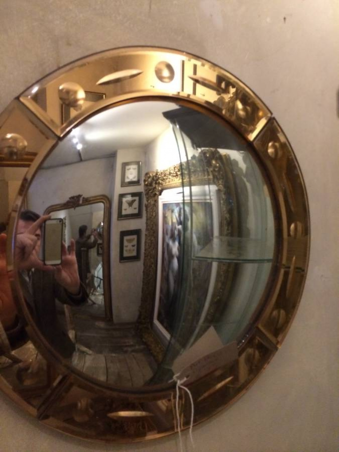 Art Deco Convex Mirror In Decorative Throughout Decorative Convex Mirror (Image 4 of 15)