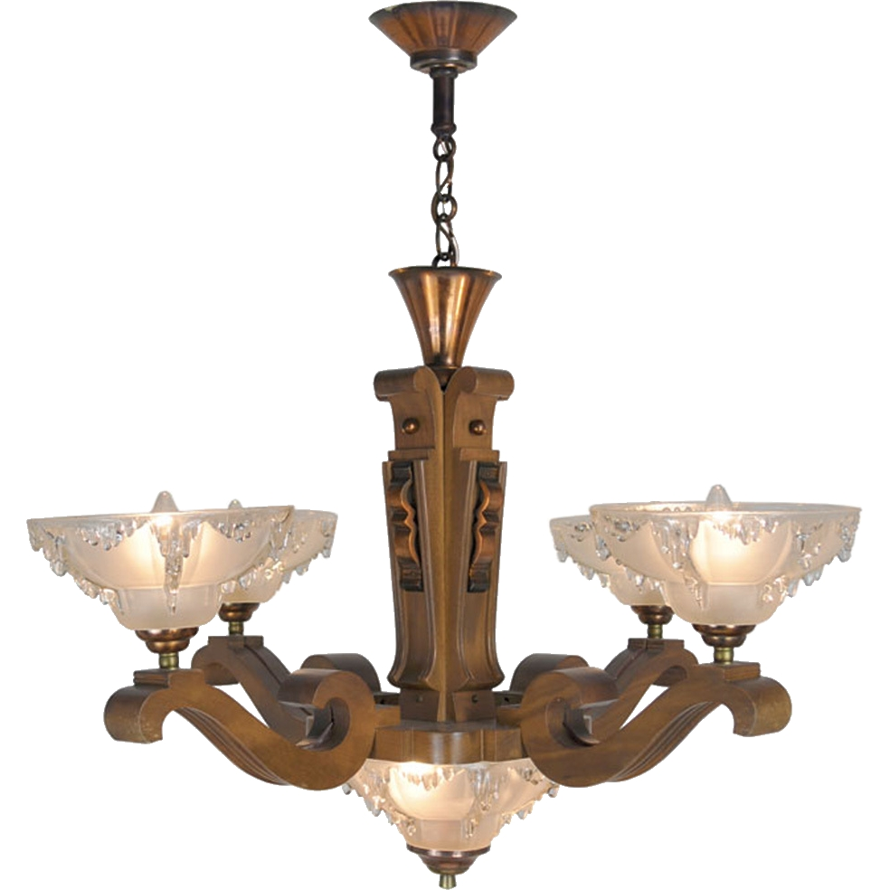 Art Deco French Ezan Style Icicle Chandelier With 4 Arm Wooden Pertaining To French Wooden Chandelier (Image 2 of 15)