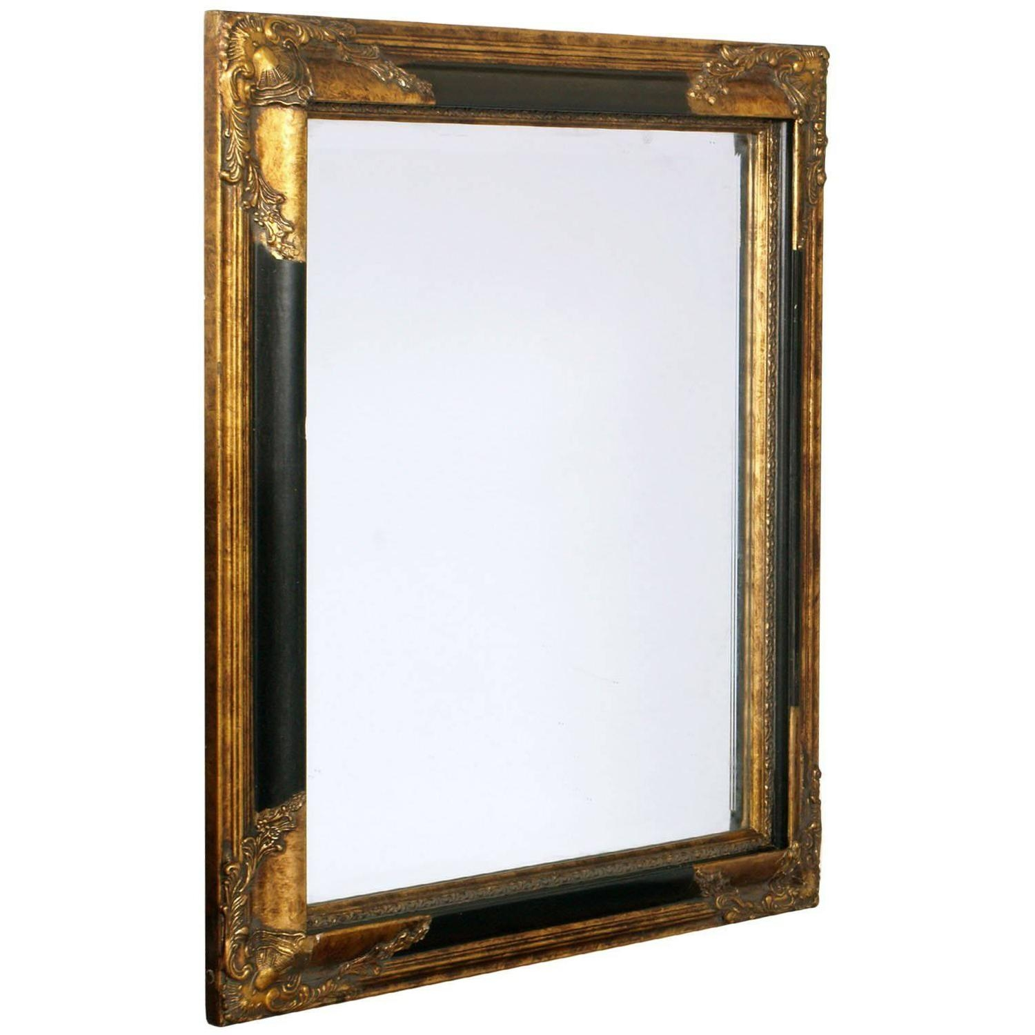 Art Deco Mirror With Carved Golden Black Frame Of The Florentine In Baroque Mirror Black (Image 2 of 15)