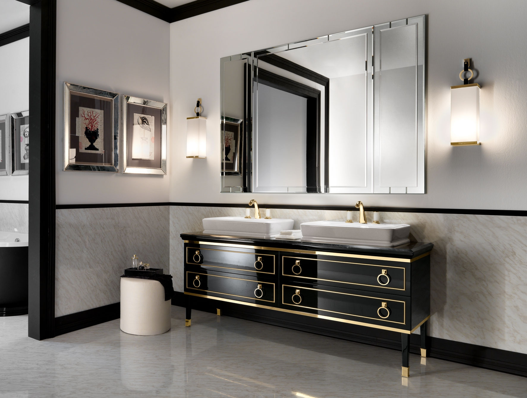 Art Deco Style Bathroom Vanity Creative Decoration With Mirrors Image