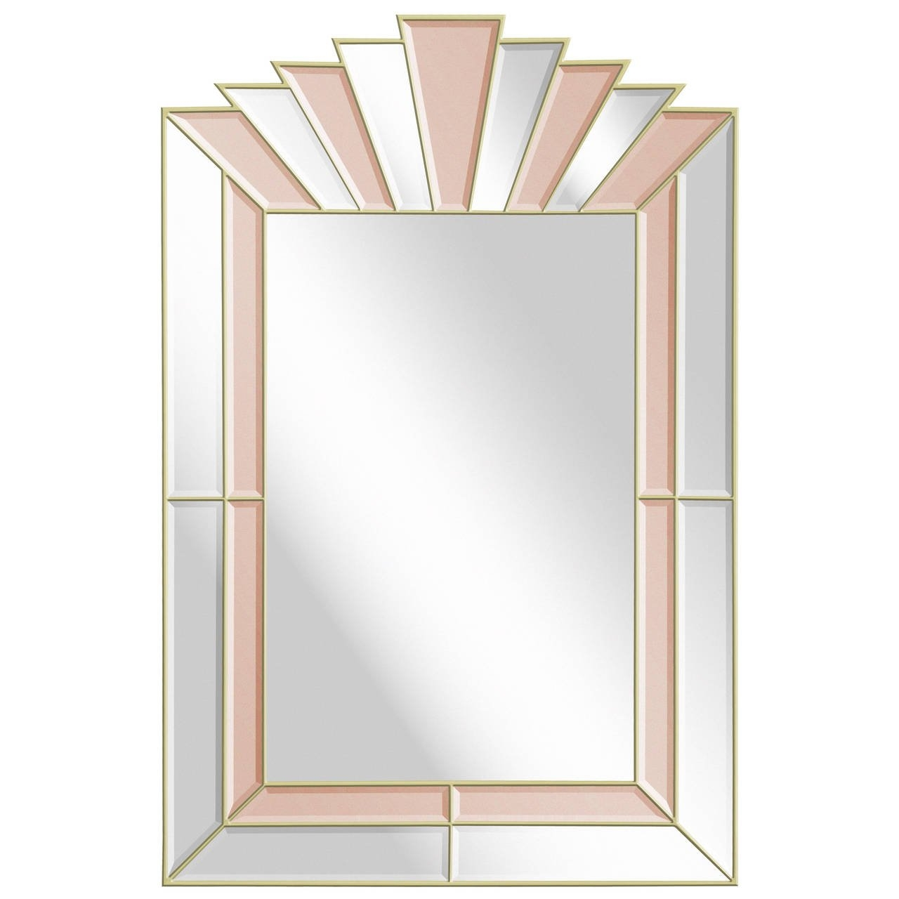 Art Deco Style Mirror With Clear And Champagne Tinted Mirrored With Art Deco Style Mirror (Image 6 of 15)