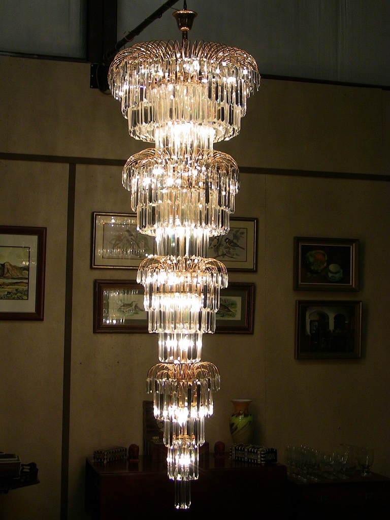 Art Deco Style Multi Layered Swarofski Crystal Chandelier Extra Regarding Large Art Deco Chandelier (Image 6 of 15)