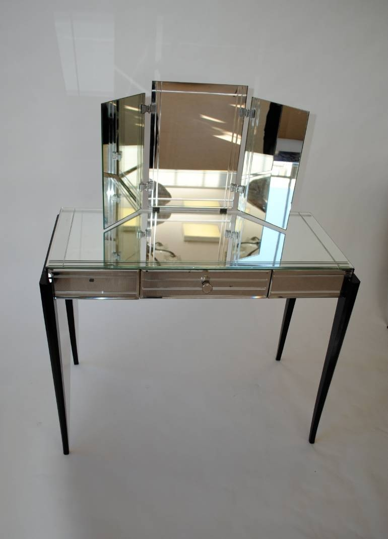 Art Deco Vanity Table Globorank Throughout Art Deco Mirrored Dressing Table (Image 7 of 15)