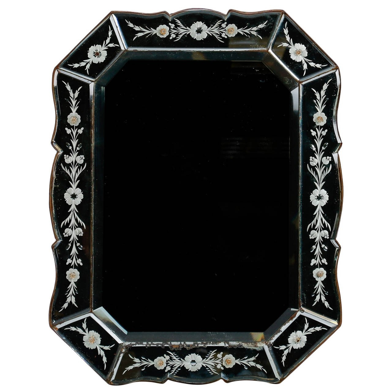 Art Deco Venetian Mirror With Eight Sided Etched Frame For Sale At With Venetian Mirror For Sale (Image 4 of 15)