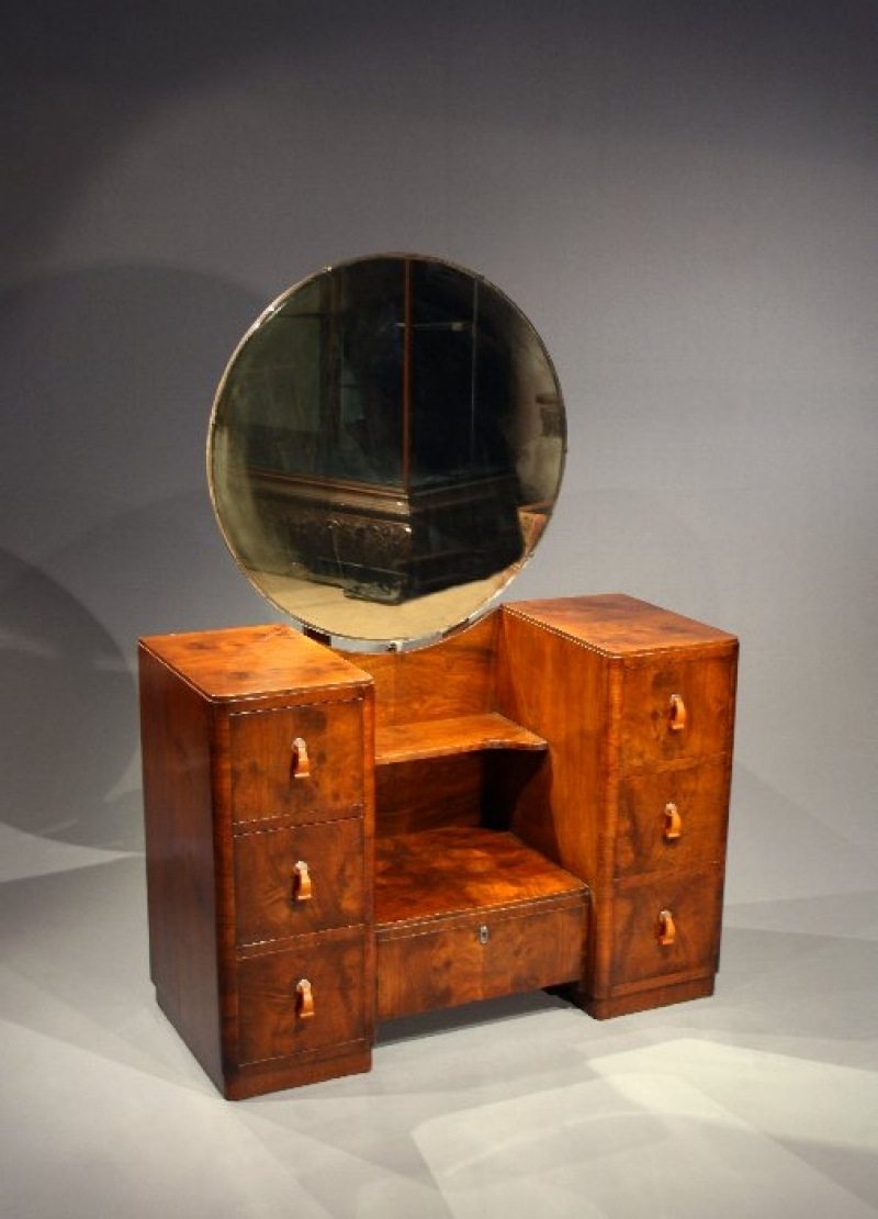 Art Deco Walnut Dressing Table With Mirror Loveday Antiques Within Art Deco Mirrored Dressing Table (Image 8 of 15)