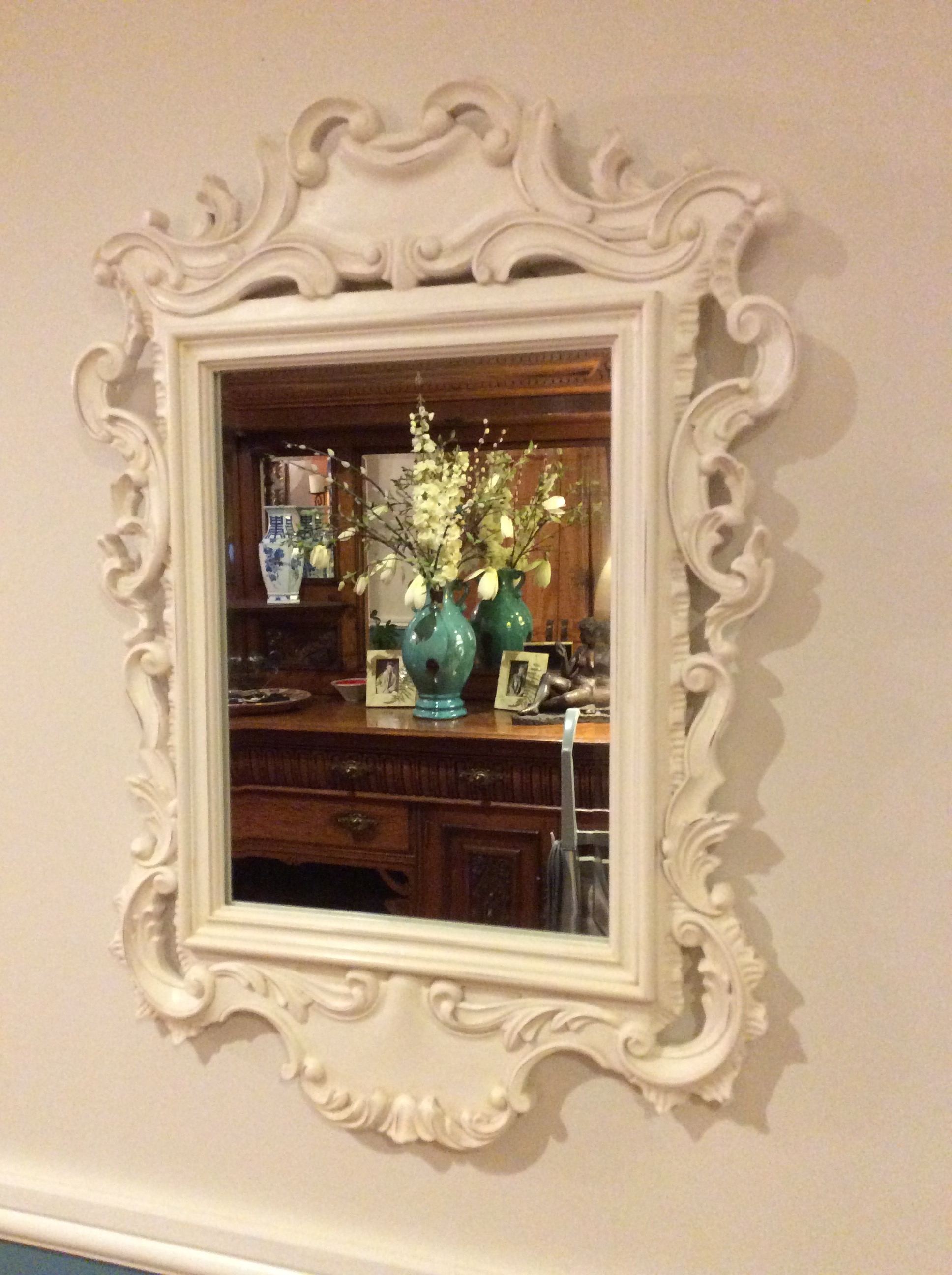 Art Mirrors Sues Vintage Finds In Large White Rococo Mirror (Image 2 of 15)