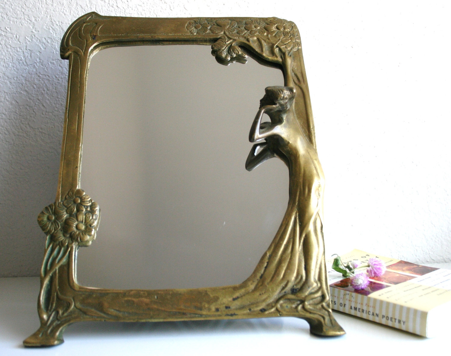 Art Nouveau Brass Table Mirror Intended For Mirror Art Nouveau (Image 3 of 15)