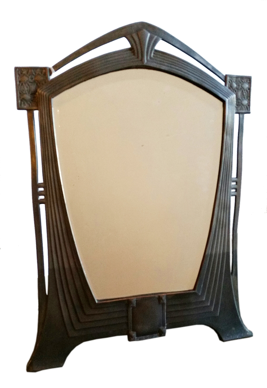 Art Nouveau Jugendstijl Pewter Mirror Modernism Pertaining To Mirror Art Nouveau (Image 4 of 15)