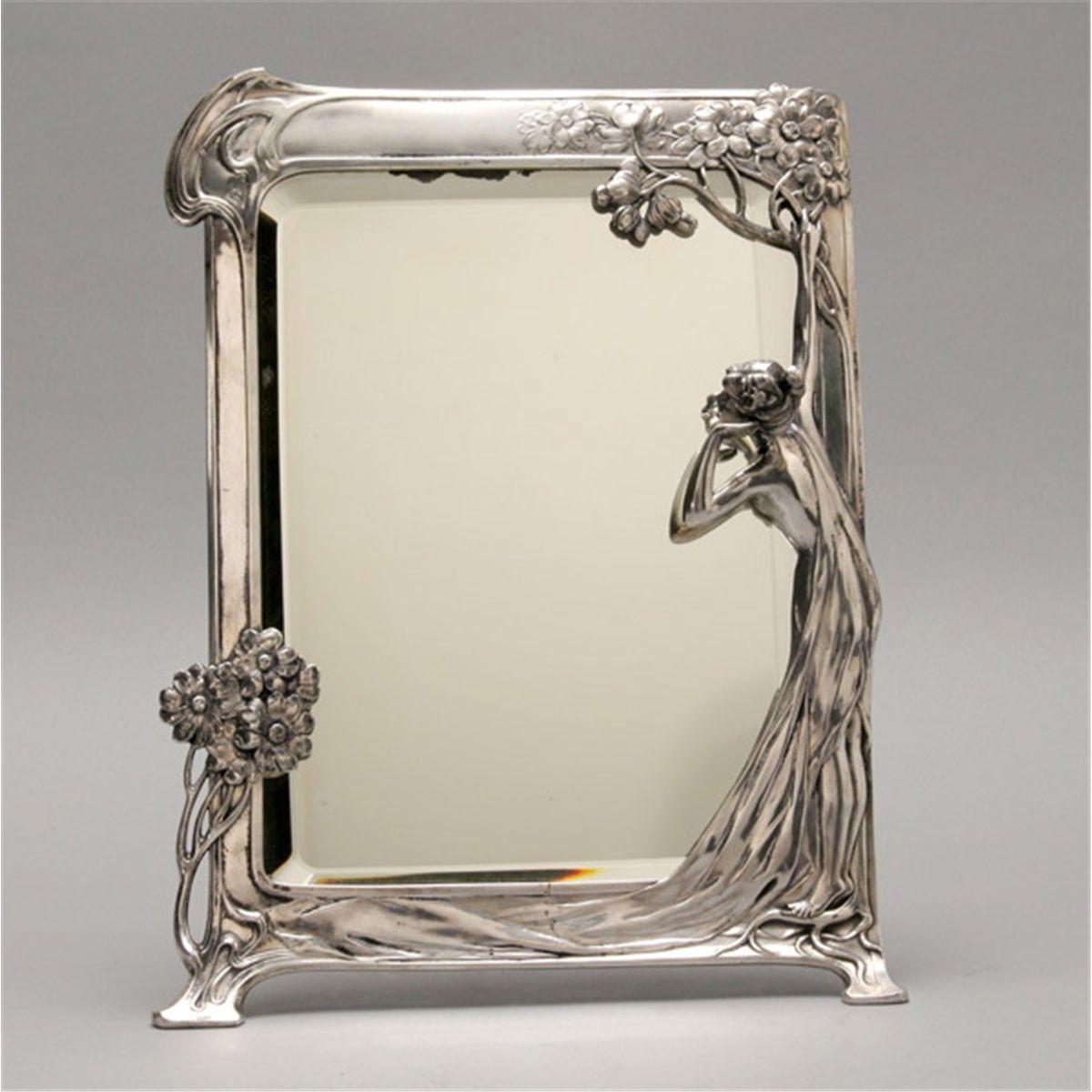 Art Nouveau Mirrors Google Pinterest Pewter Throughout Mirror Art Nouveau (Image 6 of 15)