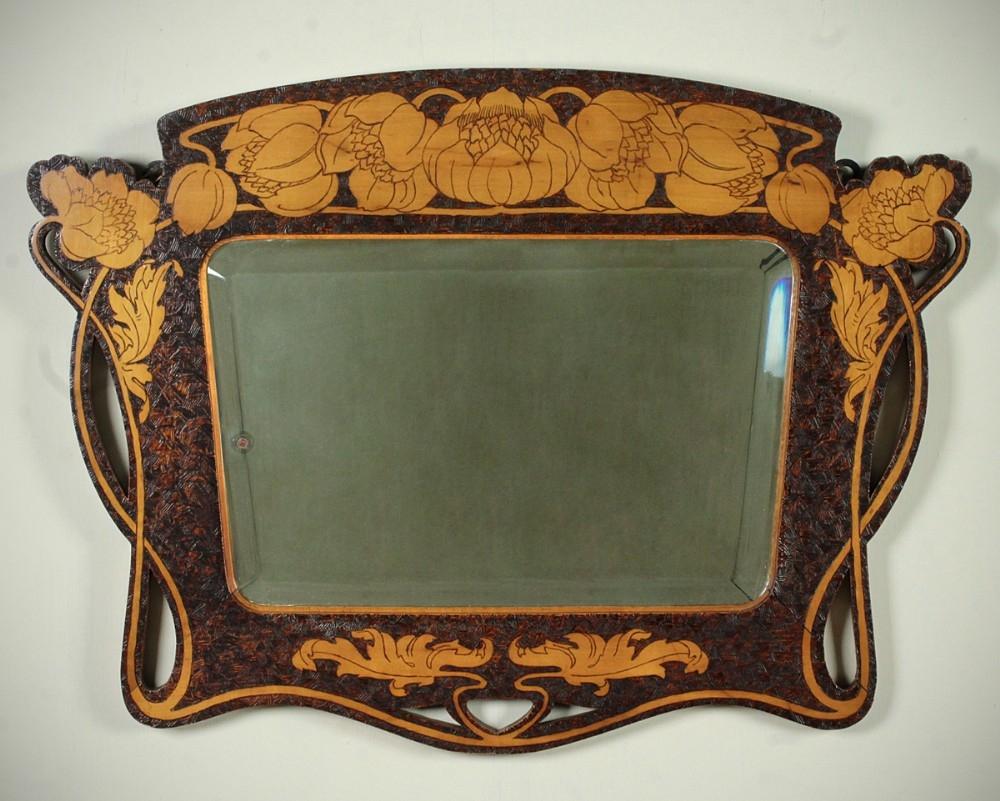 Art Nouveau Pokerwork Mirror C1890 315797 Sellingantiquescouk Inside Mirror Art Nouveau (Image 8 of 15)