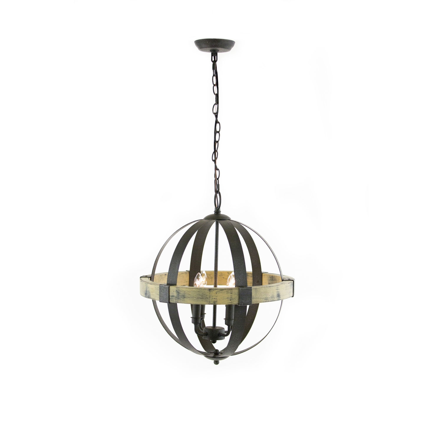 Artcraft Castello Black And Aspen Wood Four Light 20 Inch Wide In Chandelier Lights (Image 2 of 15)