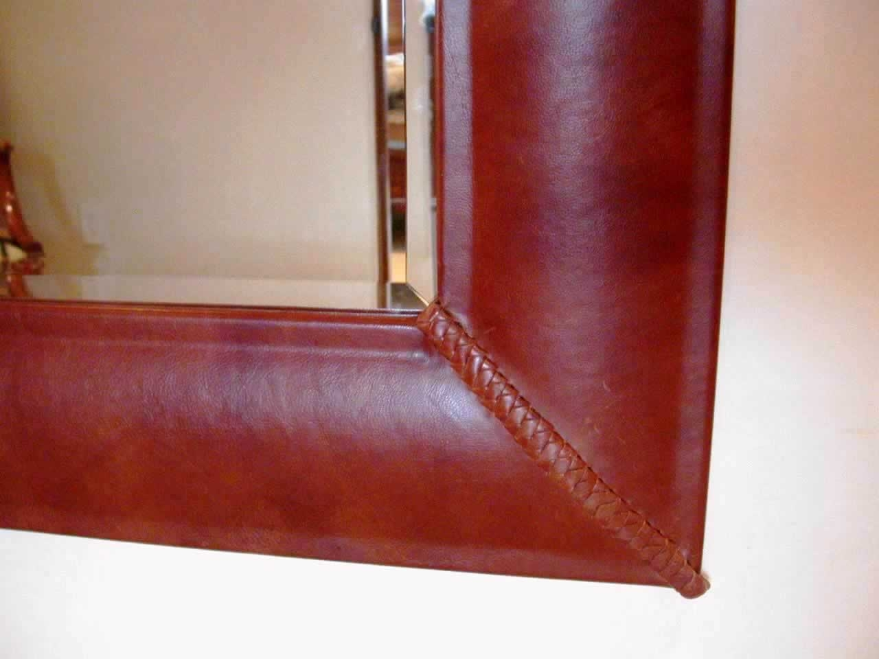 Artwest Custom Leather Copper Wood And Steel Designs To Fit Any Within Leather Wall Mirrors (Image 2 of 15)