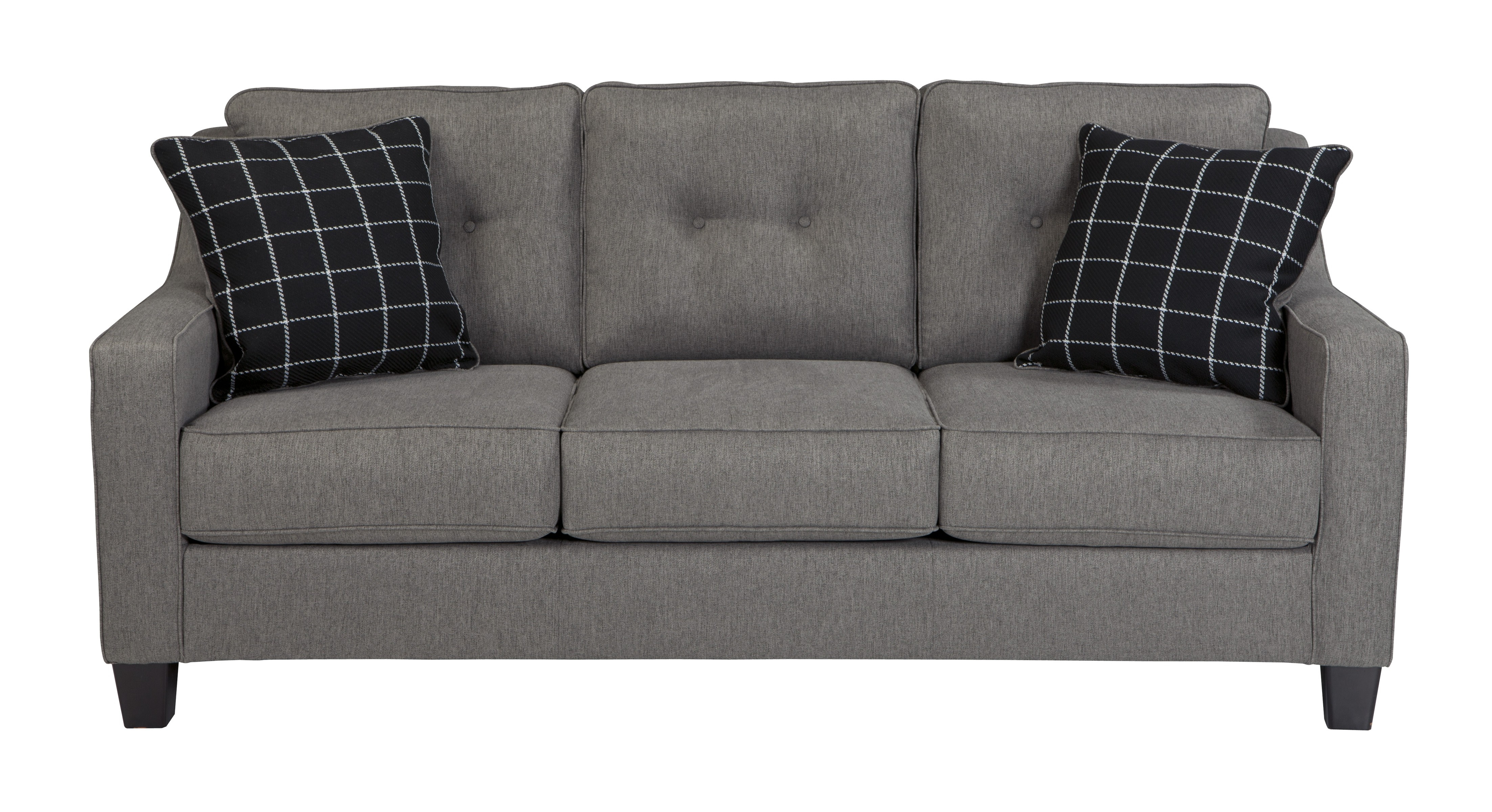 Ashley 5390138 Brindon Contemporary Sofa In Charcoal Fabric Upholstery Throughout Ashley Tufted Sofa (Image 2 of 15)