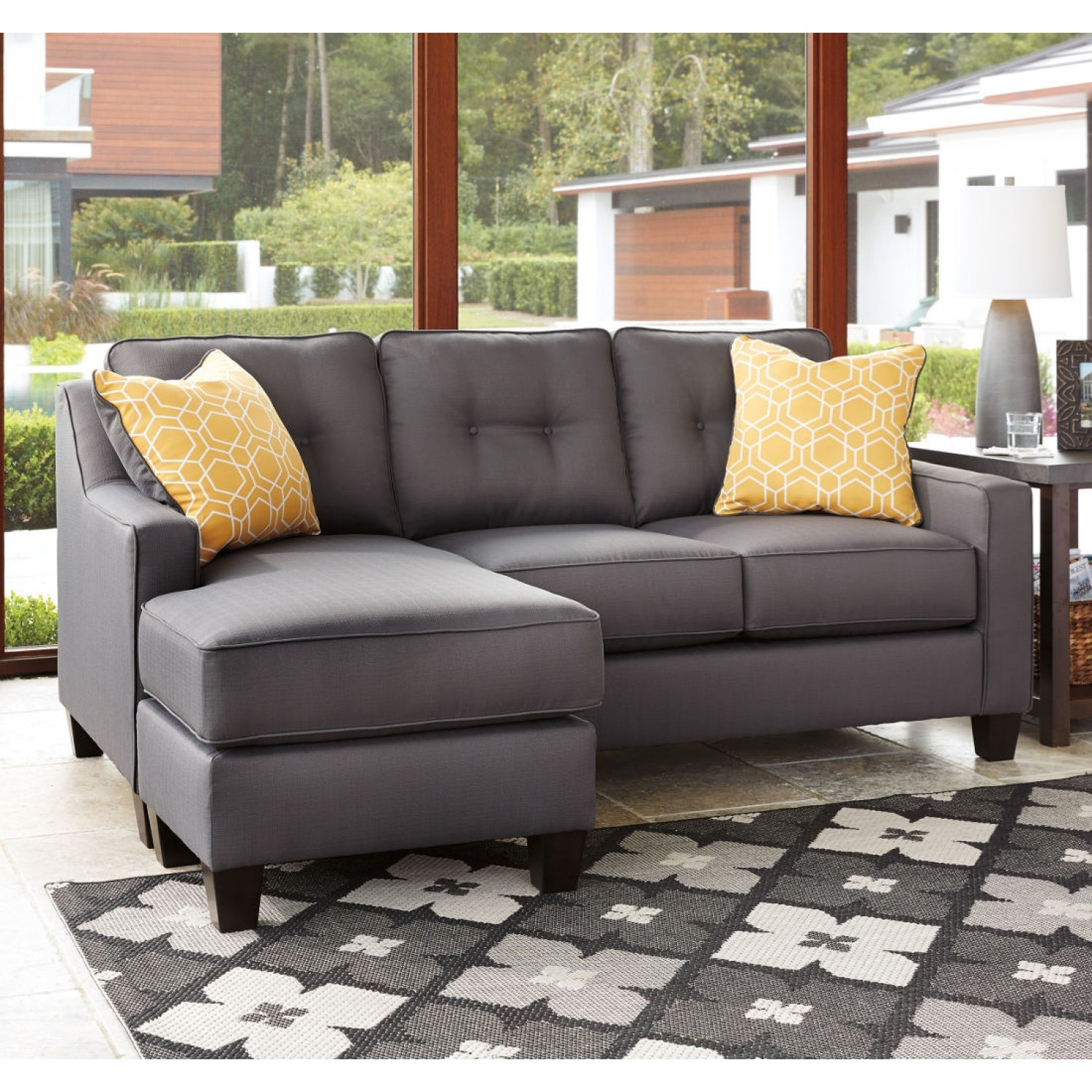 Ashley Furniture Aldie Nuvella Sofa Chaise In Gray Local Pertaining To Ashley Furniture Gray Sofa (Image 2 of 15)