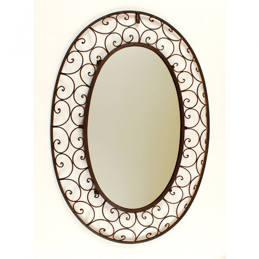 Ashton Sutton Large Oval Wrought Iron Mirror Ds499 Wrought Iron For Large Oval Wall Mirror (Image 2 of 14)