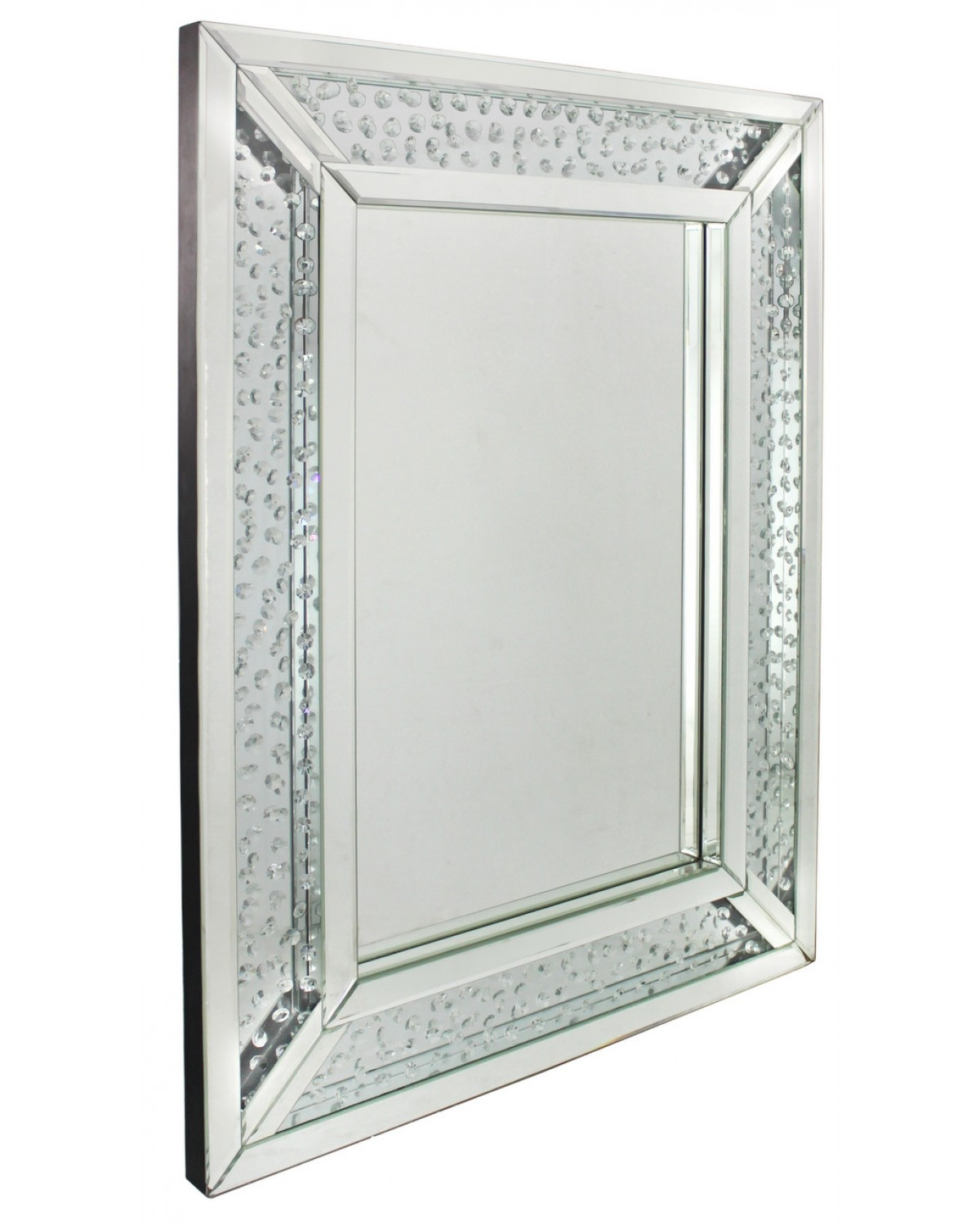 Astoria Floating Crystal Rectangle Wall Mirror With Wall Mirror With Crystals (Image 1 of 15)