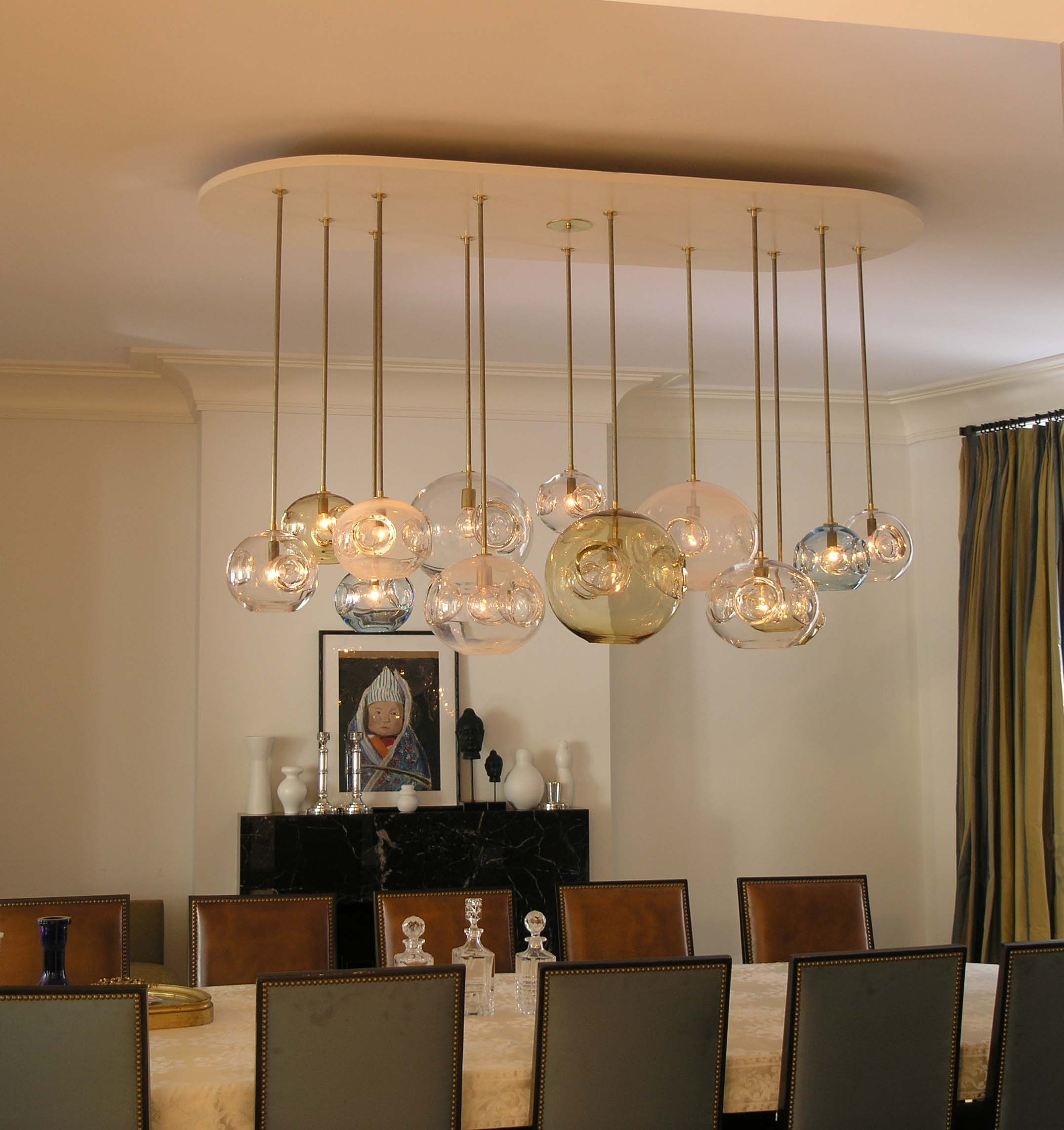 Attractive And Lovely Modern Dining Room Lighting Ideas With Glass Within Long Modern Chandelier (Image 2 of 15)
